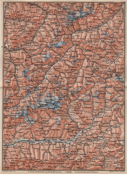 Associate Product ENGADINE/VAL TELLINA. Davos Arosa Sils Bormio Livigno Sondrio Chur 1889 map