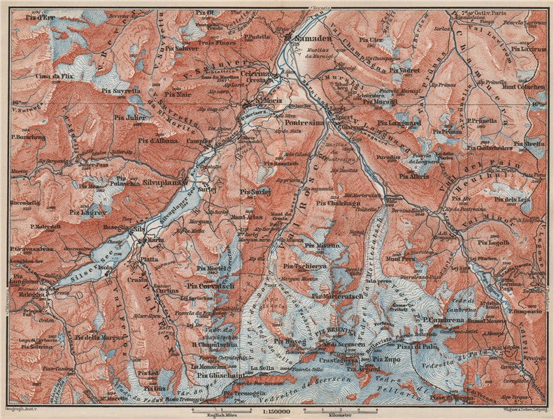 Associate Product UPPER ENGADINE. St Moritz Celerina Pontresina Sils-Maria Bernina Range 1889 map