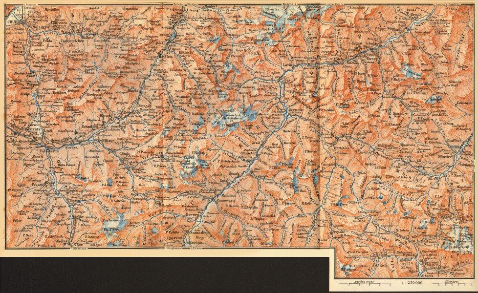 Associate Product LOWER ENGADINE. Arosa Lenzerheide Savognin Zuoz Livigno Bormio Scuol 1889 map