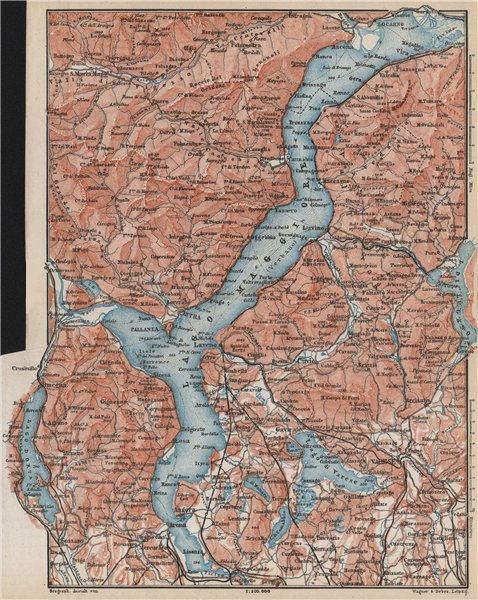 Associate Product LAGO MAGGIORE. Lake Maggiore. Varese Varesa Pallanza. Topo-map. Italy 1889