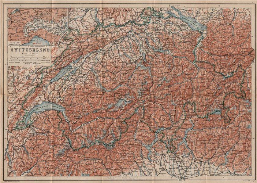 Associate Product Map of Switzerland Suisse Schweiz. Northern Italy railways carte karte 1893