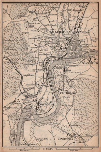Associate Product SCHAFFHAUSEN environs. Flurlingen Feuerthalen Neuhausen. Schweiz 1893 old map