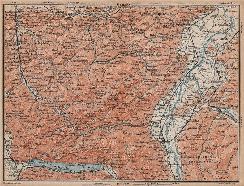 Associate Product APPENZELL CANTON. Wildhaus Unterwasser St. Gallen Trogen Walensee 1893 old map