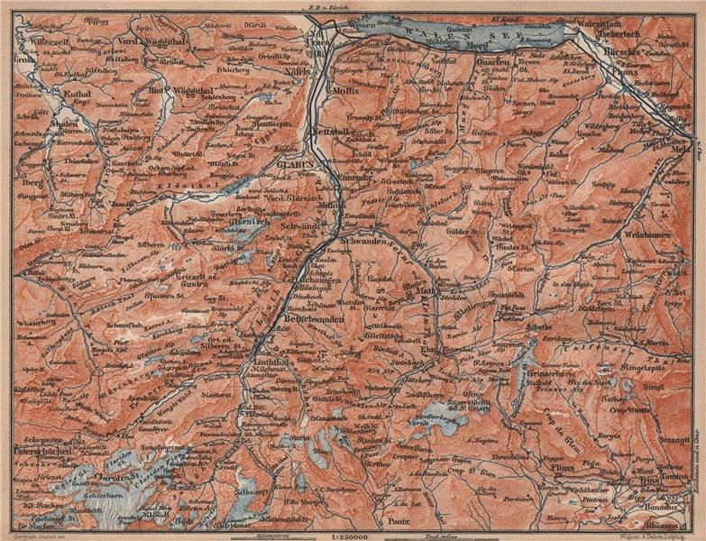 GLARUS CANTON. Flums Braunwald Flims Näfels Walen See Linththal 1893 old map
