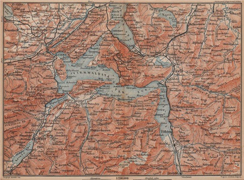 Associate Product LAKE LUCERNE. Vierwaldstättersee. Luzern Engelberg Sarnen Altorf Stanz 1893 map