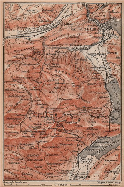 Associate Product PILATUS. Luzern Lucerne Kriens Alpnach Hergiswil. Topo-map. Schweiz 1893