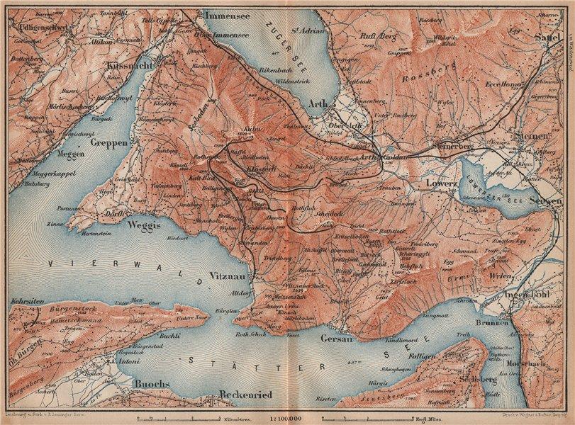 Associate Product THE RIGI. Vitznau Lowerz Immensee Arth Gersau Bekenried. Topo-map 1893 old