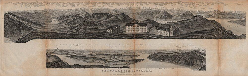 Associate Product PANORAMA from/von RIGIKULM 1800m. Küssnacht. Switzerland Schweiz 1893 old map