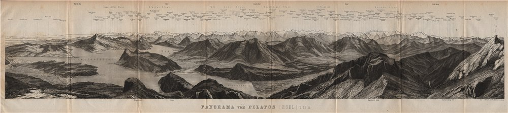 Associate Product PANORAMA from/von PILATUS. Vierwaldstättersee. Lake Lucerne. Schweiz 1893 map