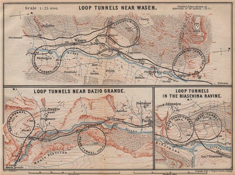 Associate Product ST GOTTHARD RAILWAY SPIRAL/LOOP TUNNELS Wassen Freggio Prato Biaschina 1893 map