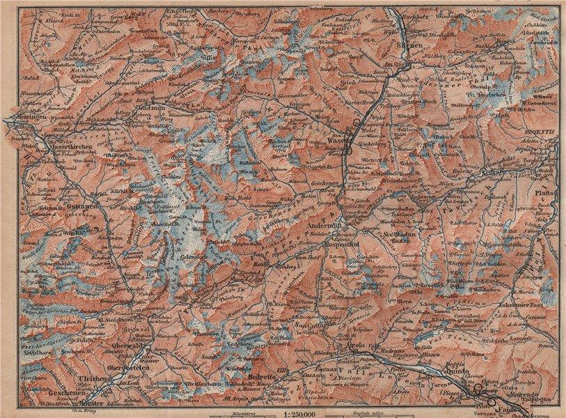 Associate Product ST GOTTHARD area. Andermatt Engelberg Silenen Gadmen Ulrichen Disentis 1893 map