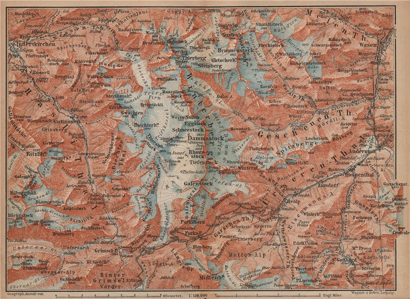 Associate Product URNER/URI ALPS. Trift district. Andermatt Innertkirchen Dammastock 1893 map