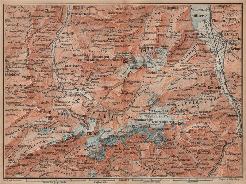 ENGELBERG ENVIRONS. Uri/Urner Alps Titlis Blackenstock Sarnen Altorf 1893 map