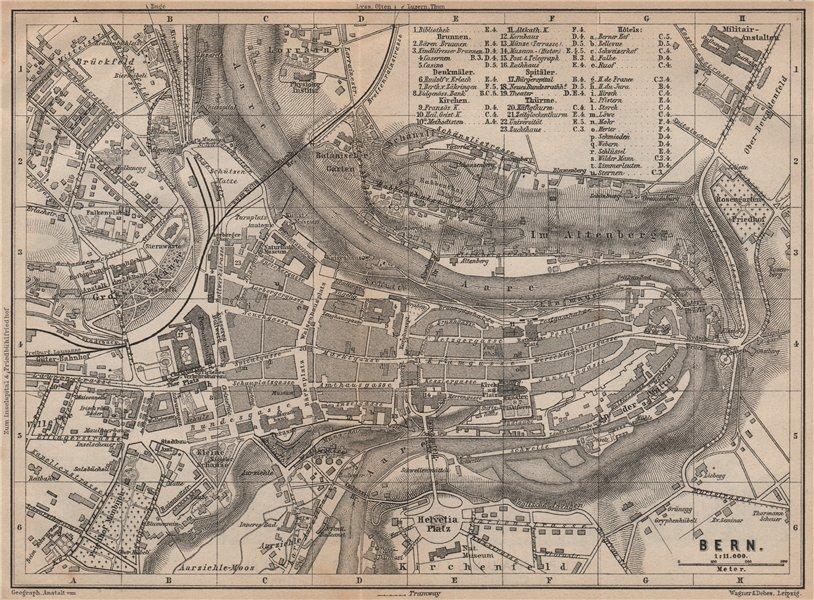 Associate Product BERN BERNE. town city stadtplan. Switzerland Suisse Schweiz. BAEDEKER 1893 map