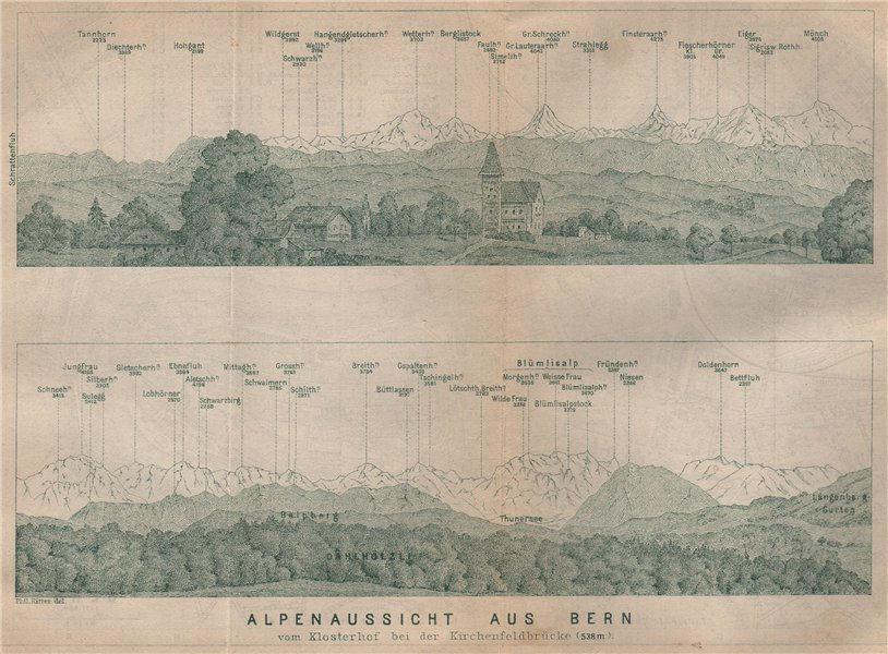PANORAMA vom/from BERN/Berne. Blumisalp Eiger Jungfrau Gletscherhorn 1893 map