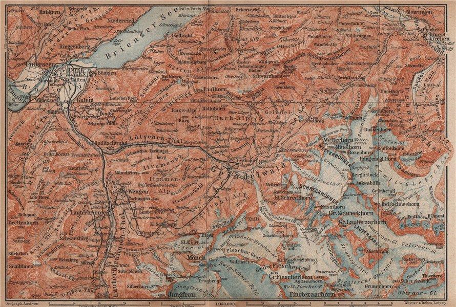 Associate Product GRINDELWALD environs. Wengen Mürren Jungfrau Wetterhorn Interlaken 1893 map