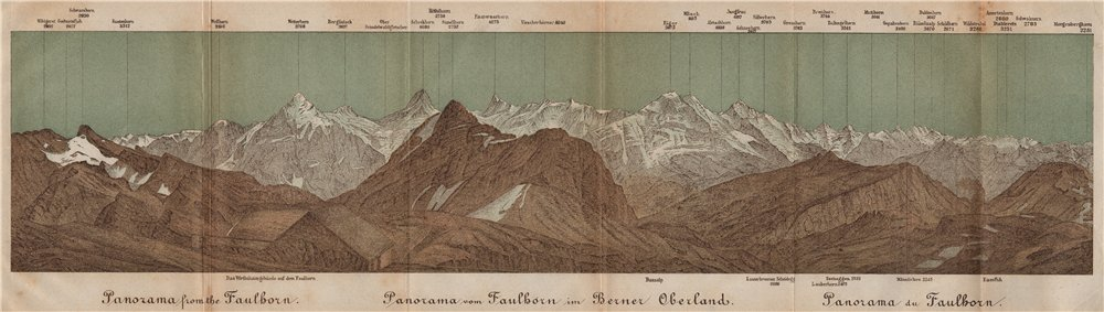 Associate Product PANORAMA from/vom FAULHORN. Berner Oberland. Bernese Oberland 1893 old map