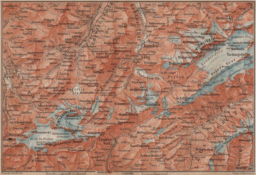 Associate Product KANDERSTEG area.Blumisalp Adelboden Wildstrubel Rinderhorn Torrenthorn 1893 map