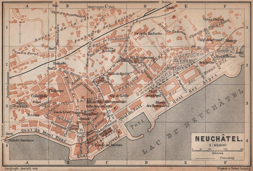 Associate Product NEUCHÂTEL / NEUENBURG. town city plan. Switzerland Suisse Schweiz 1893 old map