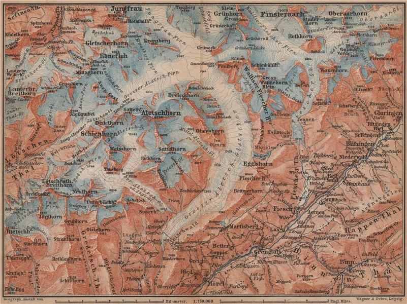 Associate Product ALETSCHHORN DISTRICT. Fiesch Mörel Jungfrau Nesthorn Grengiols 1893 old map