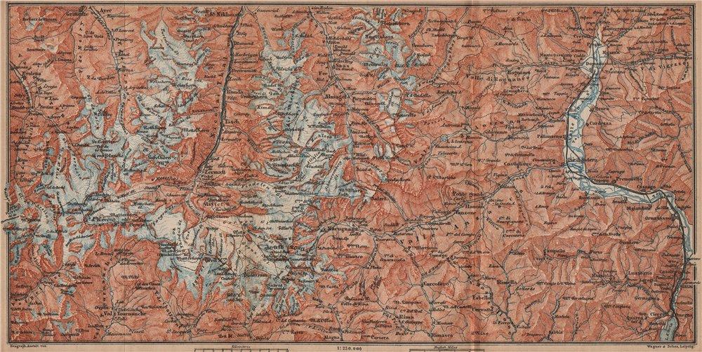 Associate Product VALAIS ALPS. Zermatt Saas-Fee Monte Rosa Val Tournanche Matterhorn 1893 map