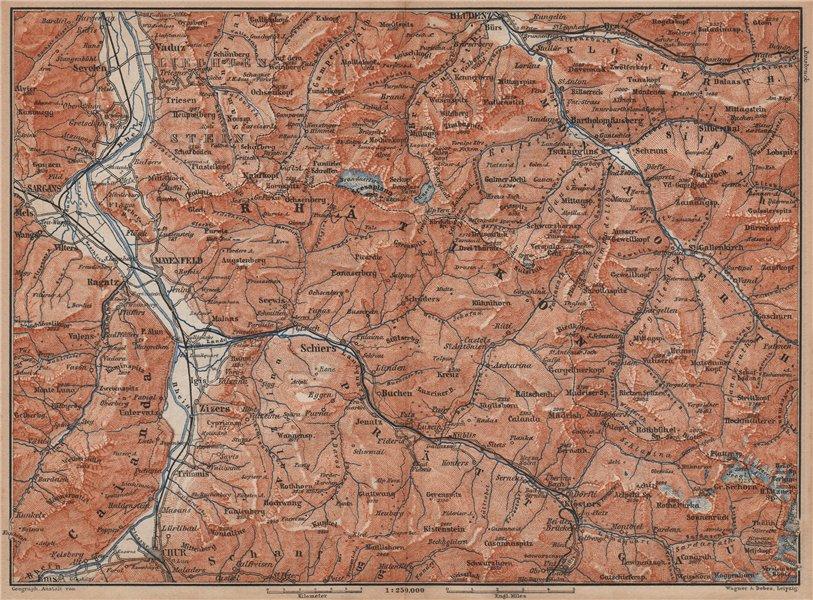 BAD RAGAZ PRÄTIGAU MONTAFON ENVIRONS. Wangs Rätikon Bludenz Maienfeld 1893 map