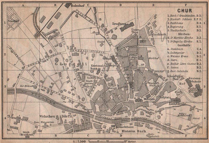 COIRE / CHUR. Chur. town city stadtplan. Switzerland Suisse Schweiz 1893 map