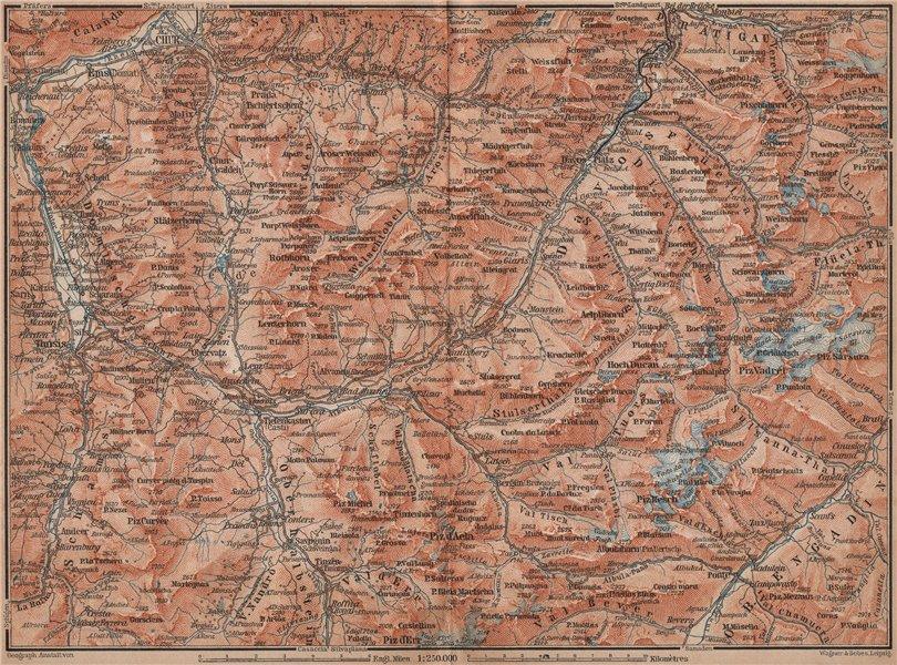 Associate Product GRAUBÜNDEN/ALBULA ALPS. Chur-Samedan. Arosa Lenz Davos Savognin Thusis 1893 map