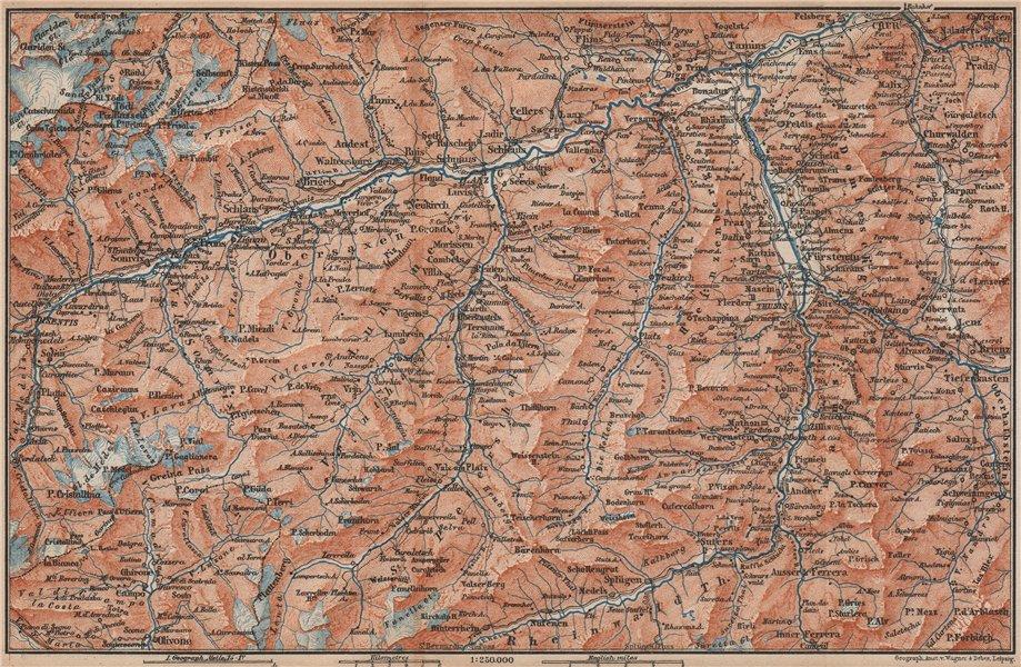 Associate Product VORDER-RHEINTHAL. Flims Laax Chur Obersaxen Tamins Brigels Thusis 1893 old map