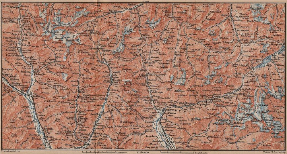 Associate Product LUKMANIER to MALOJA.Sils Maria Bivio Madesimo Chiavenna San Bernardino 1893 map