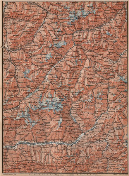 Associate Product ENGADINE/VAL TELLINA. Davos Arosa Sils Bormio Livigno Sondrio Chur 1893 map