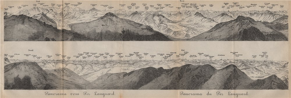 Associate Product PIZ LANGUARD PANORAMA. Bernina Roseg Monte Rosa Mont Blanc Cristallo 1893 map