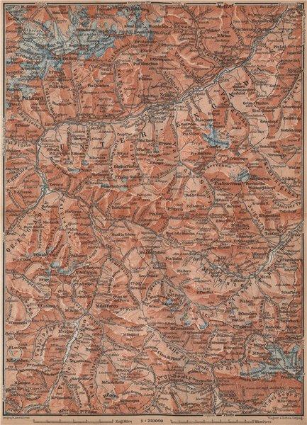 Associate Product LOWER ENGADINE. Livigno Bormio Ftan Scuol Silvretta Range Piz Buin 1893 map