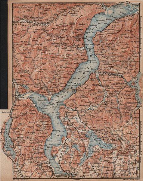 Associate Product LAGO MAGGIORE. Lake Maggiore. Varese Varesa Pallanza. Topo-map. Italy 1893