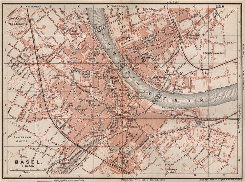 Associate Product BÂLE BASEL. Basle. town city stadtplan. Switzerland Suisse Schweiz 1897 map