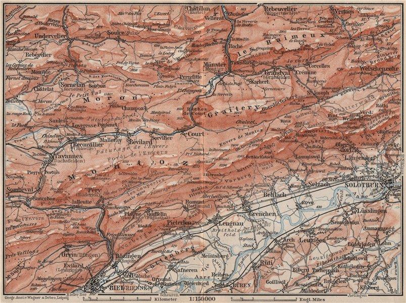 Associate Product BERNESE JURA. Solothurn Biel/Bienne Rebeuvelier Tavannes. Topo-map 1897