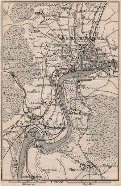 Associate Product SCHAFFHAUSEN environs. Flurlingen Feuerthalen Neuhausen. Schweiz 1897 old map