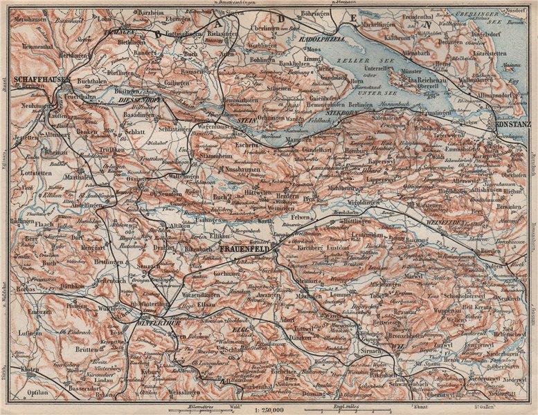 Associate Product SCHAFFHAUSEN to CONSTANCE. Konstanz Frauenfeld Zeller See Unter See 1897 map