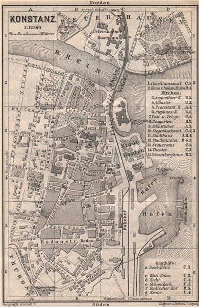 Associate Product CONSTANCE. KONSTANZ. town city stadtplan. Germany karte. BAEDEKER 1897 old map