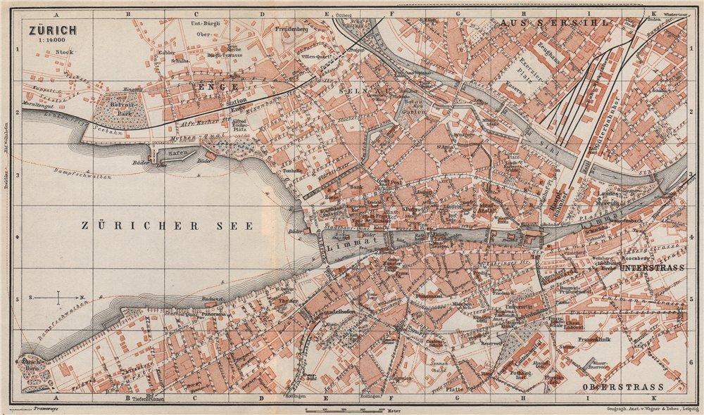 Associate Product ZÜRICH. Zurich. town city stadtplan. Switzerland Suisse Schweiz 1897 old map