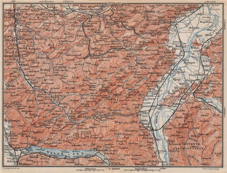 Associate Product APPENZELL CANTON. Wildhaus Unterwasser St. Gallen Trogen Walensee 1897 old map