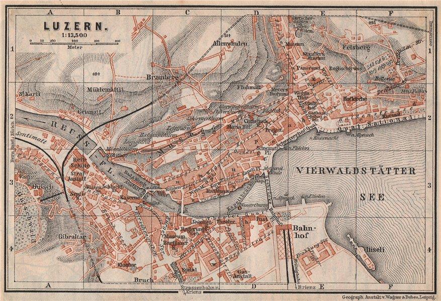 Associate Product LUCERNE LUZERN. town city stadtplan. Switzerland Suisse Schweiz 1897 old map