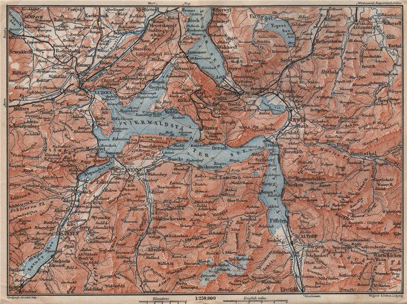 Associate Product LAKE LUCERNE. Vierwaldstättersee. Luzern Engelberg Sarnen Altorf Stanz 1897 map