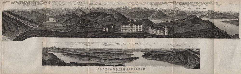 Associate Product PANORAMA from/von RIGIKULM 1800m. Küssnacht. Switzerland Schweiz 1897 old map