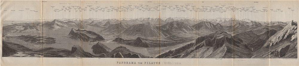 Associate Product PANORAMA from/von PILATUS. Vierwaldstättersee. Lake Lucerne. Schweiz 1897 map