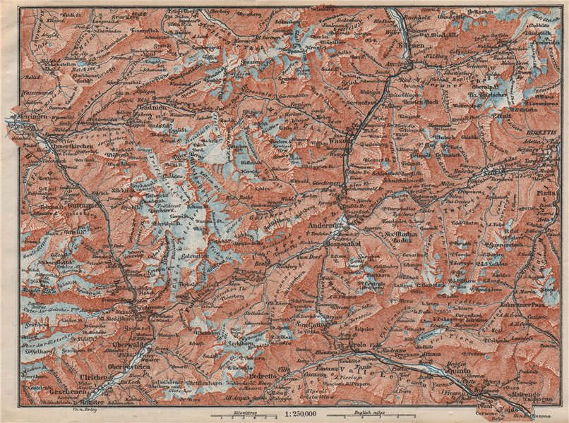 Associate Product ST GOTTHARD area. Andermatt Engelberg Silenen Gadmen Ulrichen Disentis 1897 map