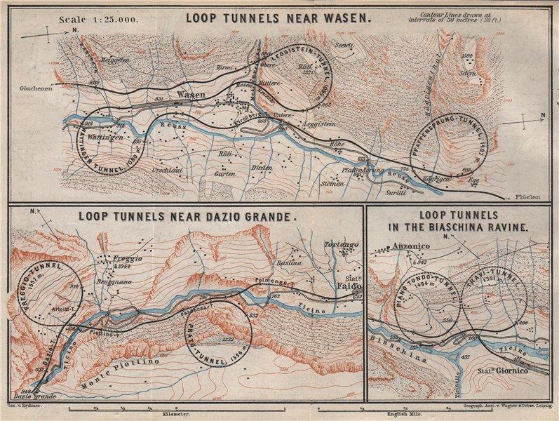 Associate Product ST GOTTHARD RAILWAY SPIRAL/LOOP TUNNELS Wassen Freggio Prato Biaschina 1897 map