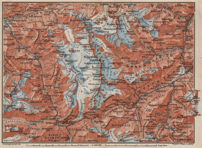 Associate Product URNER/URI ALPS. Trift district. Andermatt Innertkirchen Dammastock 1897 map