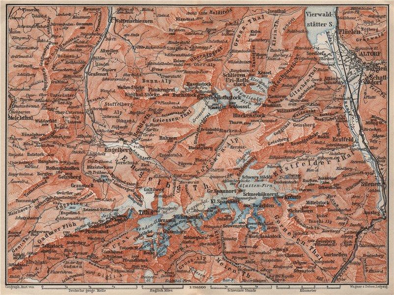 Associate Product ENGELBERG ENVIRONS. Uri/Urner Alps Titlis Blackenstock Sarnen Altorf 1897 map