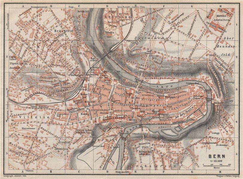 Associate Product BERN BERNE. town city stadtplan. Switzerland Suisse Schweiz. BAEDEKER 1897 map